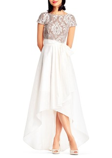 Adrianna Papell Emblem Brocade High-Low Gown
