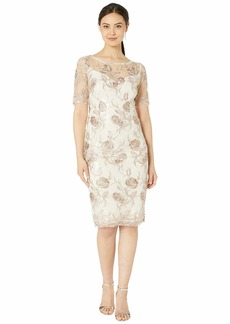 Adrianna Papell Embroidered Cocktail Dress with Sequins