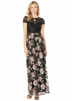 Adrianna Papell Embroidered Floral Evening Gown