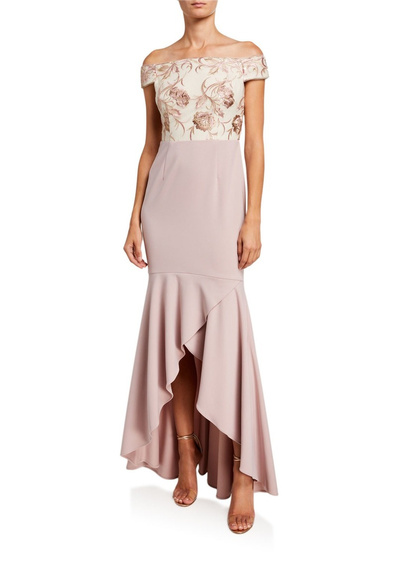 Adrianna Papell Embroidered Sequin Gown