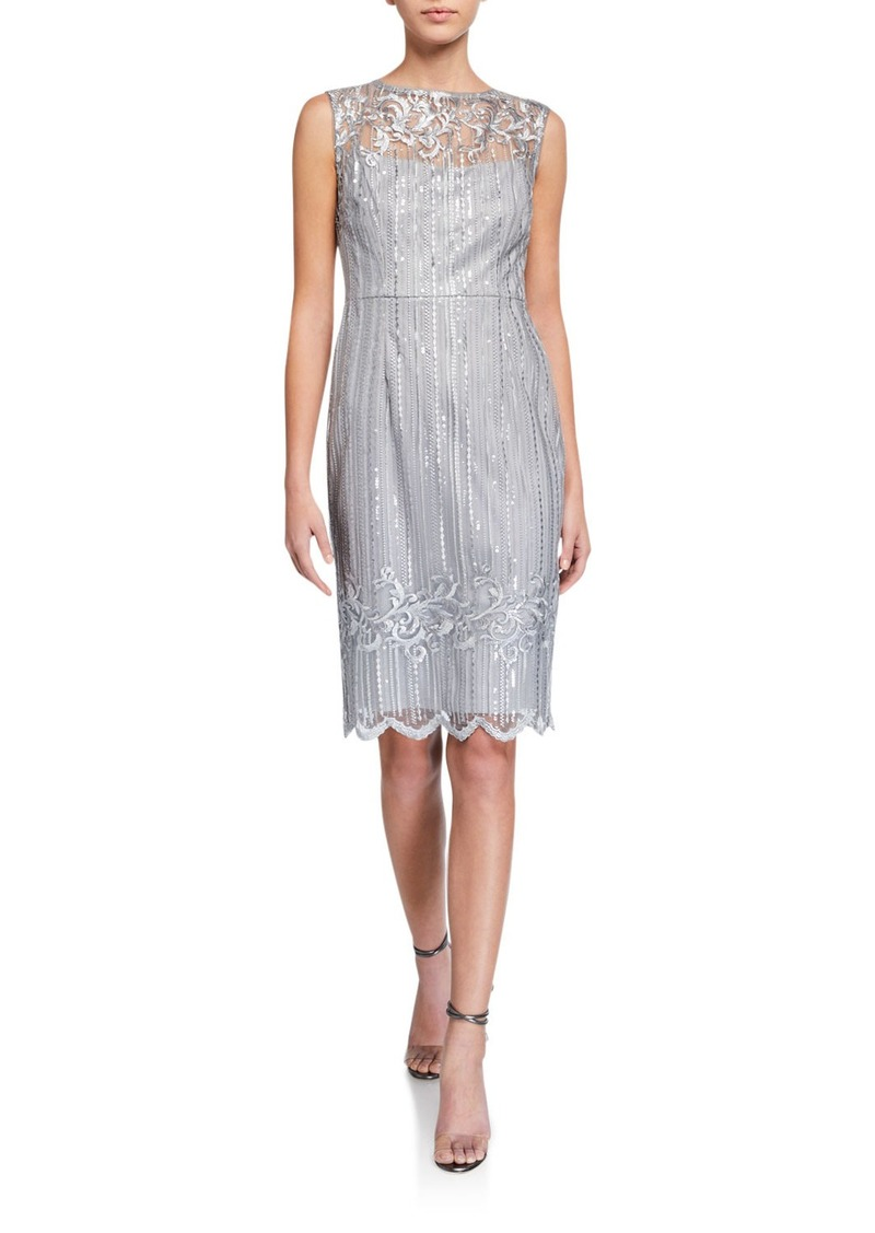 Adrianna Papell Embroidered Sequin Sleeveless Sheath Dress