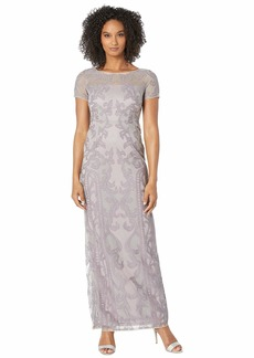 Adrianna Papell Filigree Embroidered Tulle Evening Gown