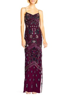 Adrianna Papell Floral Beaded V-Neck Gown