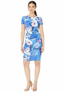 Adrianna Papell Floral Elbow Sleeve Side Draped Sheath Dress