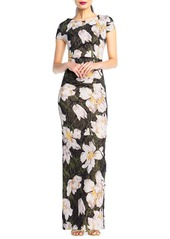 Adrianna Papell Floral-Print Shimmer Column Gown