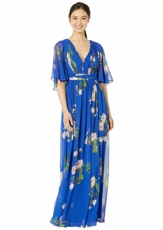 Adrianna Papell Flutter Sleeve Chiffon Floral Evening Gown