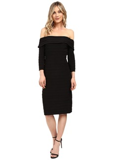 Adrianna Papell Fold-Over Top Banded Sheath Dress