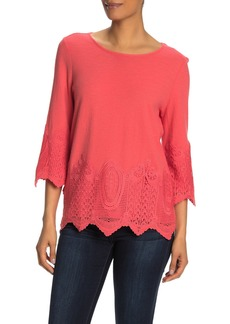 Adrianna Papell Gauxy Crepe Crochet Blouse