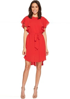 Adrianna Papell Gauzy Crepe A-Line Dress with Short Flutter Sleeves, Bateau Neckline, and Shirt Tail Hem, Partially Lined with Belted Tie