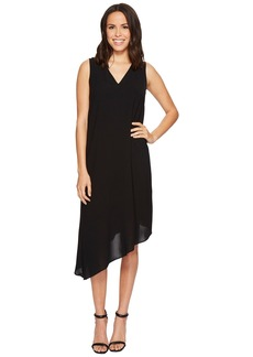 Adrianna Papell Gauzy Crepe Asymmetrical Trapeze Dress with V Neckline, V Cut Out Back, and Back Ruffled Drape, Fully Lined