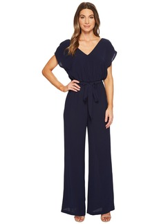 Adrianna Papell Gauzy Crepe Belted Jumpsuit