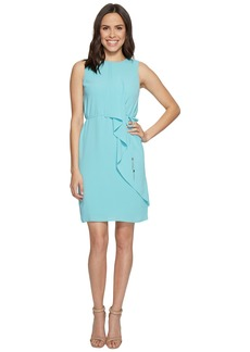 Adrianna Papell Gauzy Crepe Draped Front Dress
