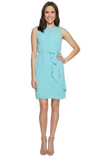Adrianna Papell Gauzy Crepe Draped Front Dress