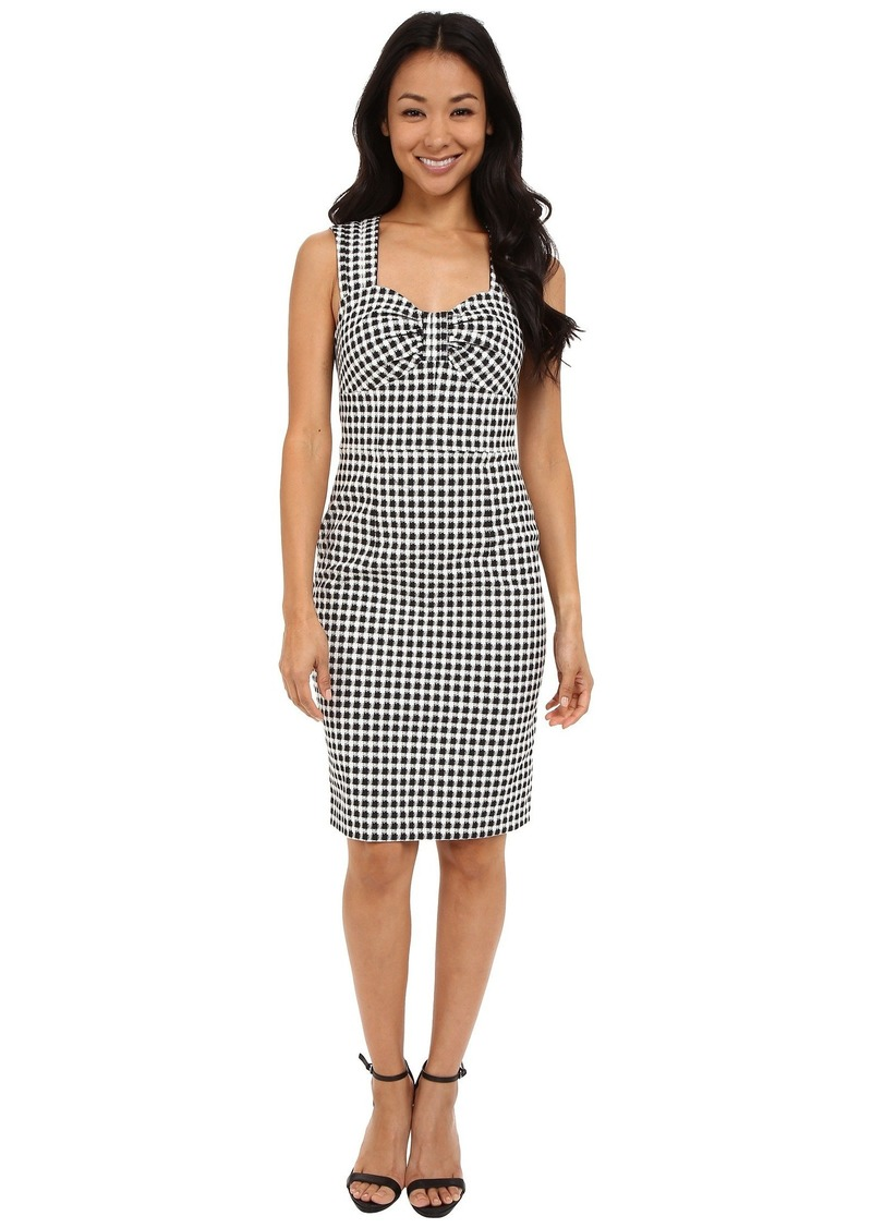 Adrianna Papell Womens Gingham and Floral Flared Embroidered Shirt Dress