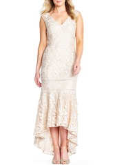 Adrianna Papell Guipure Lace High-Low Trumpet Evening Gown