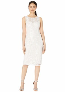 Adrianna Papell Illusion Embroidered Chantilly Lace Cocktail Dress