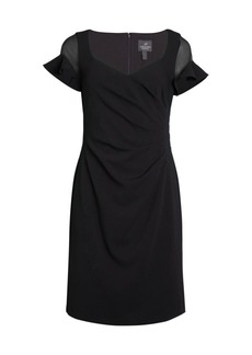 Adrianna Papell Illusion Knit Crepe Sheath Dress