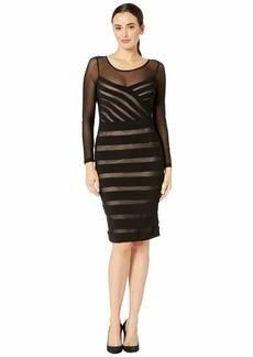 Adrianna Papell Illusion Neck Banded Sheath Dress