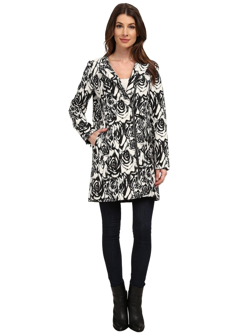 Adrianna Papell Jacquard Asymmetric Zip-Front Coat