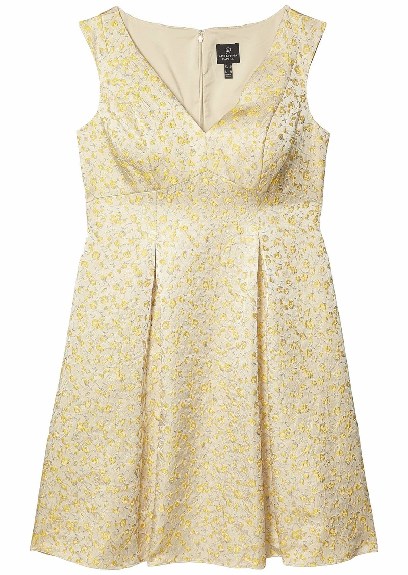 Adrianna Papell Jacquard Pleated Fit-and-Flare Dress