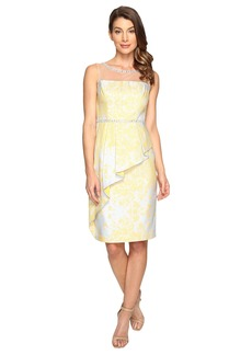 Adrianna Papell Jacquard Sheath Dress w/ Cascade Peplum