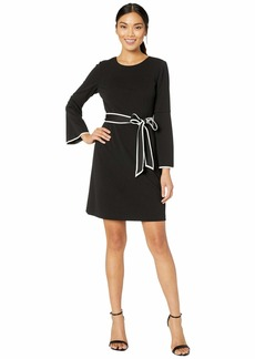 Adrianna Papell Knit Crepe A-Line Dress w/ Contrast Trim Detail