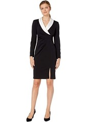 Adrianna Papell Knit Crepe and Satin Sheath
