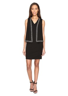 Adrianna Papell Knit Crepe Cape Dress with Cold Shoulder and Embellishment