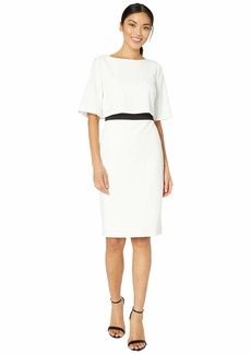 Adrianna Papell Knit Crepe Color-Block Pop Over Sheath Dress