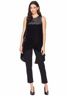 Adrianna Papell Knit Crepe Jumpsuit with Velvet Tulip Top