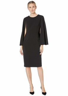 Adrianna Papell Knit Crepe Midi Cape Dress