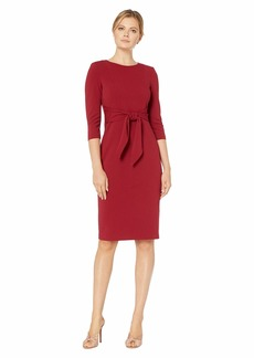 Adrianna Papell Knit Crepe Tie Waist Sheath Dress