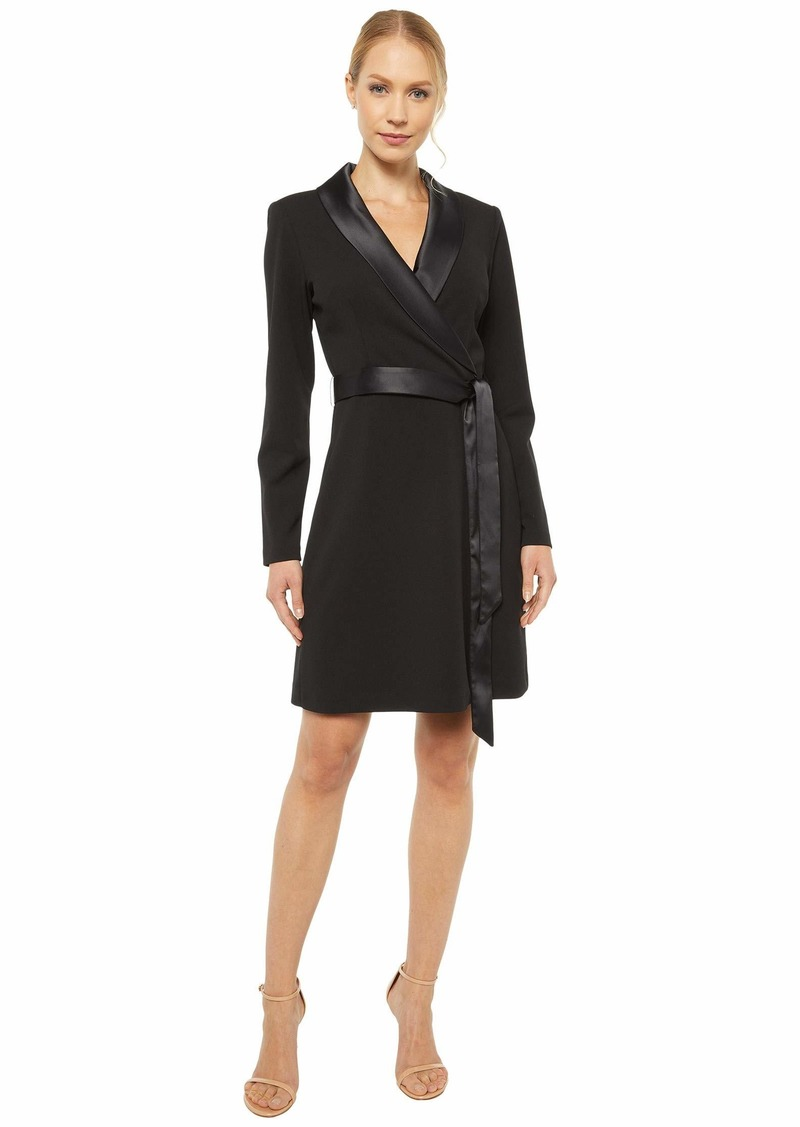 Adrianna Papell Knit Crepe Tuxedo A-Line Dress