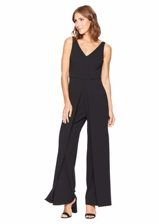 Adrianna Papell Knit Crepe V-Neck Jumpsuit