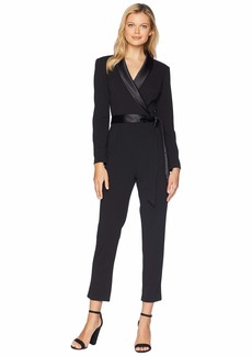 Adrianna Papell Knit Crepe Wrap Top Jumpsuit with Long Sleeves, Slim Pants, and Stretch Charmeuse Collar