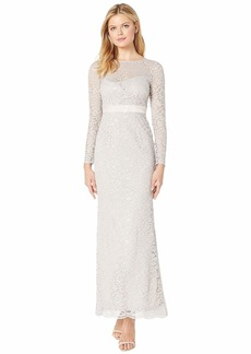 Adrianna Papell Lace Long Sleeve Evening Gown