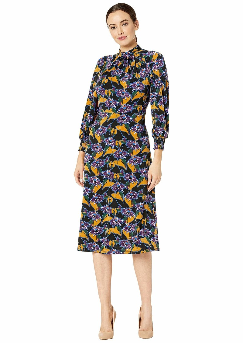 Adrianna Papell Leafy Hearts Mock Neck Dress