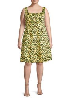 Adrianna Papell Plus Lemon-Print Stretch-Cotton A-Line Dress