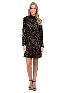 Adrianna Papell Lined Art Deco Lace Shift Dress