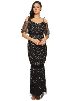 Adrianna Papell Long 3D Beaded Boho Gown with Tie Shoulder Detail