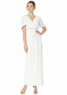 Adrianna Papell Long Draped Gown with Beaded Waist and Capelet