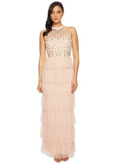 Adrianna Papell Long Fuffle Boho Halter Gown with Beaded Bodice