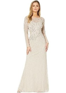 Adrianna Papell Long Sleeve Beaded Evening Gown