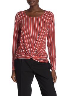 Adrianna Papell Long Sleeve Twist Hem Knit Top