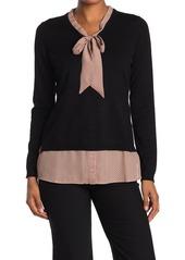 Adrianna Papell Long Sleeve V-Neck Twofer Sweater