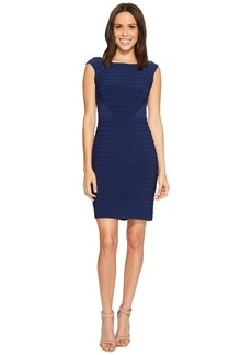 Adrianna Papell Matte Jersey Banded Dress with Lace Yoke and Sleeves