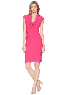 Adrianna Papell Matte Jersey Cowl Neck Drape Dress