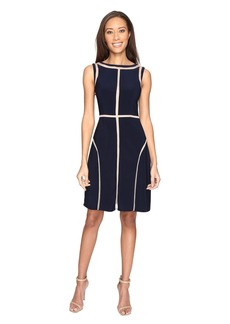 Adrianna Papell Matte Jersey Fit and Flare Dress with Contrast Netting Insets and Topstitching