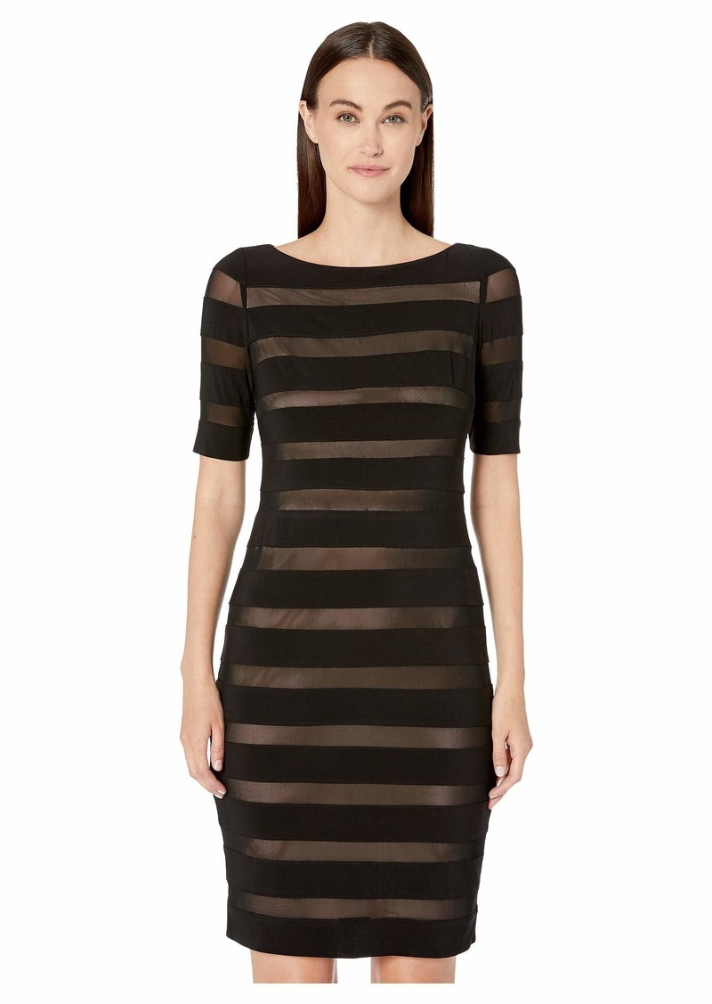 Adrianna Papell Matte Jersey Mesh Banded Sheath Dress