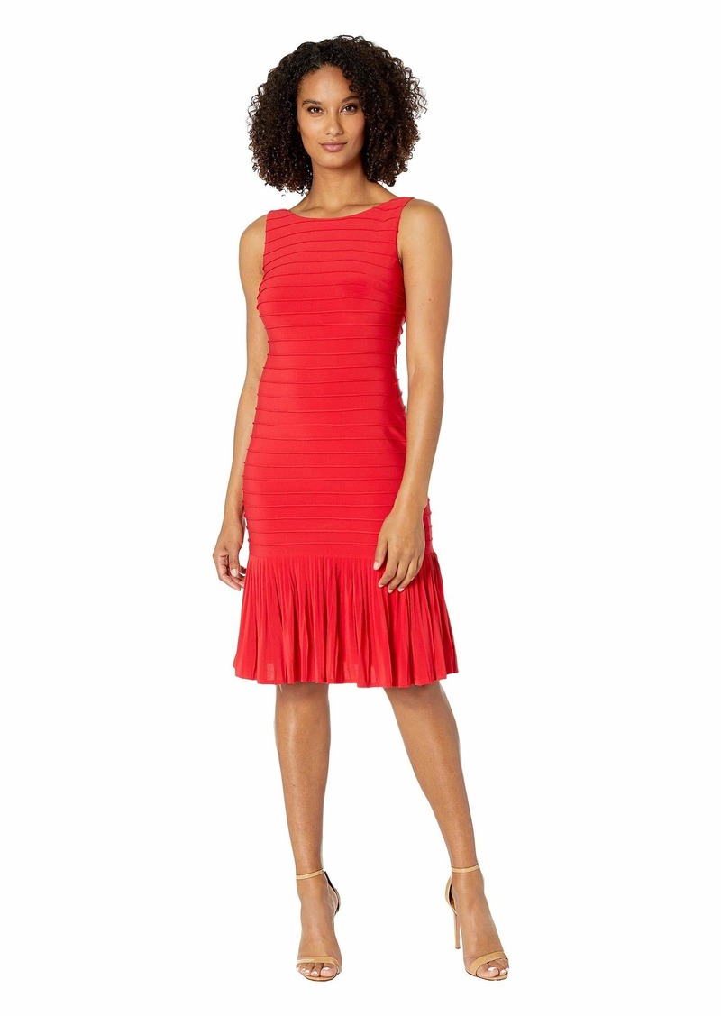 Adrianna Papell Matte Jersey Pintucked Midi Sheath Dress with Flounced Hem